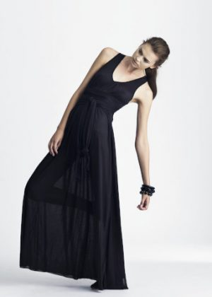 silk jersey dress black