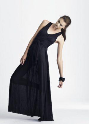 silk jersey dress black